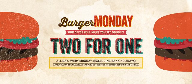 Two for One Burgers Every Monday