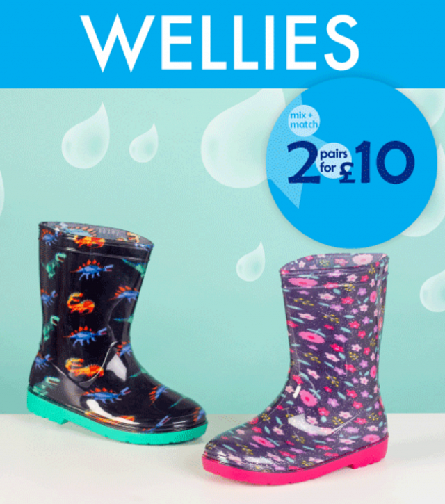 2 for £10 on Kids Wellies