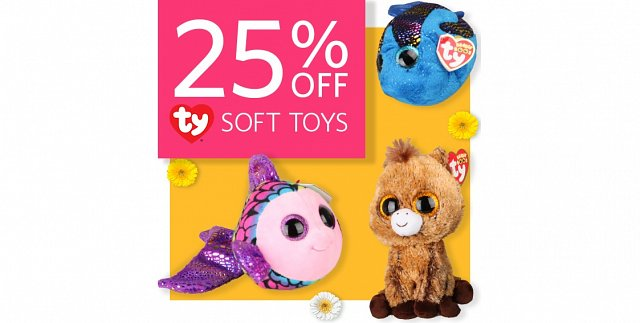 25% off ty soft toys